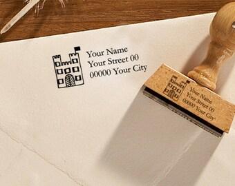 "Return address stamp ""Castle"", personalised stamp, custom stamp, address stamp, name stamp, 320"