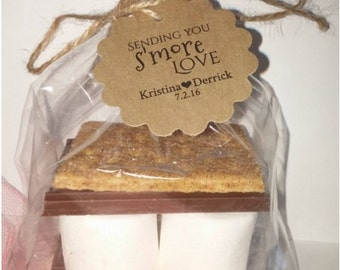 DIY Wedding Favor S'mores Kits for Weddings Parties Thank You Favors Tags Scalloped or Round Personalized