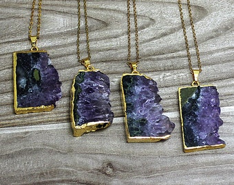 Natural Amethyst slice Pendants // Gold Amethyst Necklace // Raw gemstone Pendant // Irregular stone jewelry B985