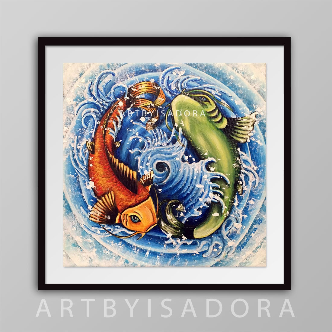 Koi fish print japanese tattoo style art yin yang design for Koi fish framed prints