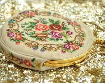 Vintage 60s Petit Point Evening Purse • Tapestry Bag • Floral Decoration • Roses • Bridal Purse