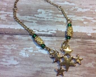 Stars Victory Green Up-Cycled Vintage Bracelet