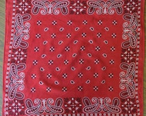 Late 50s/ Early 60s Red Paisley PrintTower Brand Bandana