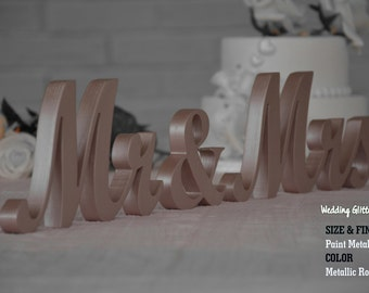 Metallic MR & MRS Rose Gold, Rose Gold Wedding Decorations, Rose Gold Sign, Rose Gold Centerpieces, Rose Gold