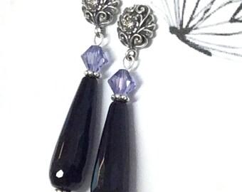 Black Onyx Earrings, Tear Drop Onyx Earrings, Art Nouveau Earrings, Swarovski and Onyx Earrings, Black Purple Earrings, Gemstone Earrings.