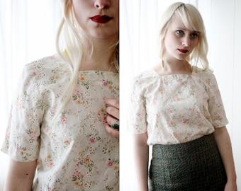 Sweet vintage cream cotton eyelet floral print short sleeve top blouse lolita