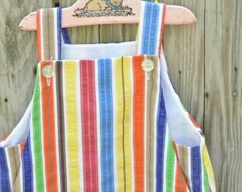 1960s Girls Buster Brown Dress Striped Jumper 6T Rainbow Stripe