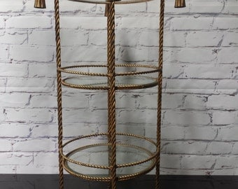 Gold gilt rope and tassel round etagere