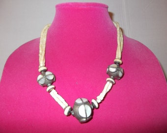 Vintage Bone Necklace with Huge Metal Beads
