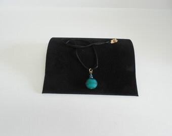 Puffed Glass Blue Swirled Necklace.
