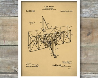 Patent Prints, Wright Brothers Patent, Airplane, Airplane Patent, Airplane Art, Airplane Wall Art, Aviation, First Flight, P401
