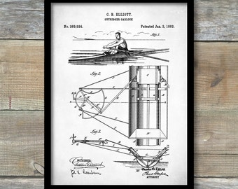 Patent Print, Rowing Scull Oarlock Poster, Scull Oarlock Patent, Rowing Scull Oarlock Print, Rowing Scull Art, Rowing Scull Décor, P330