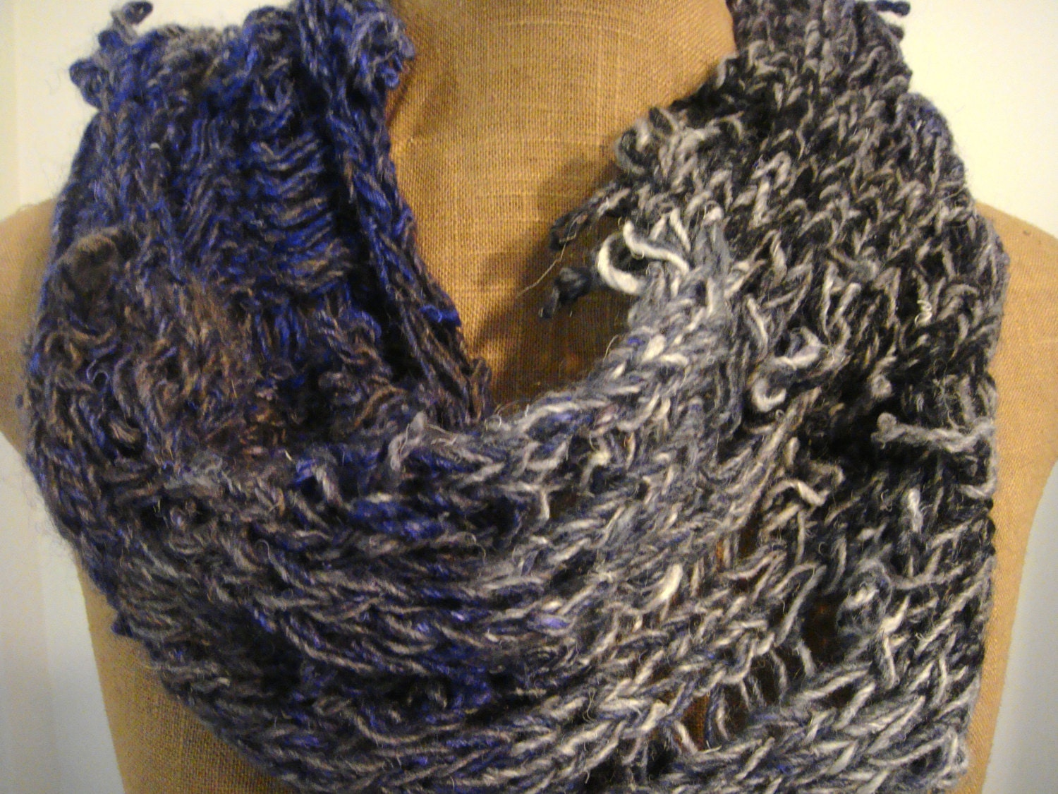 Deconstructed Knit Cowl Scarf Variegated Gray And Purple