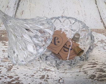 Vintage Cut Glass Candy Dish with Pointed Lid