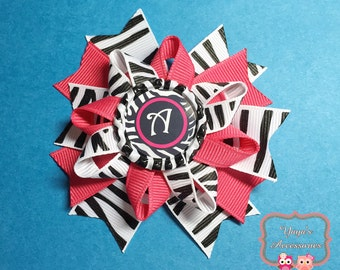 Personalized Bow, Personalized Zebra Bow, Baby Bow, Zebra Hair Bow, Personalized Hair Bow, Monogram Hair Bow, Pink and Zebra Bow