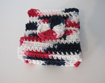 Crochet Red, White, Blue Wash Cloths (Set of 2)