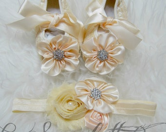 Creamy Lace Baby Girl,Infant Shoes and Headband Set