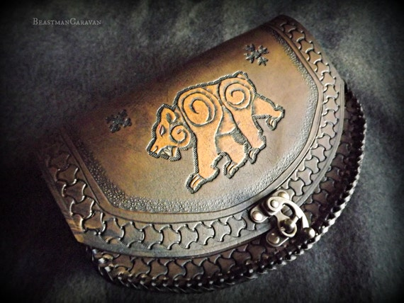 Leather Belt Pouch - Bear Design  - Celtic - Viking Inspired - Festival / Bushcraft Possibilities Bag