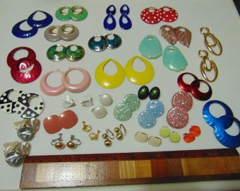 Reduced/Vintage Convertible Earrings Wardrobe/ All Interchangeable/ Huge Assortment!/ 14 Pairs Clips and Screwbacks/16 Sets Drops/Was 30.00