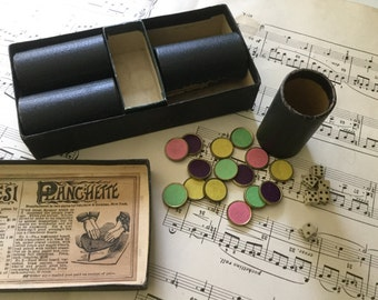 30s  parcheesi game popular edition pieces and dice in original box