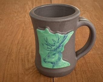 MN mug, green with deer