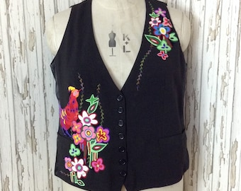 """48"""" chest Unique ladies appliquéd waistcoat / unusual / upcycled / refashioned / embroidered / large"""
