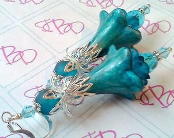 Hand Made Earrings, Hand Painted Earrings, Aqua Earrings, Teal Earrings, Flower Earrings, Victorian Earrings, Victorian Earrings, Floral