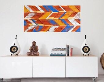 Chevron Wall Art, Abstract Painting on Wood, Abstract Wall Sculpture, Gold Chevron, Blue Chevron, Reclaimed Wood, Gold Chevron Wall Decor