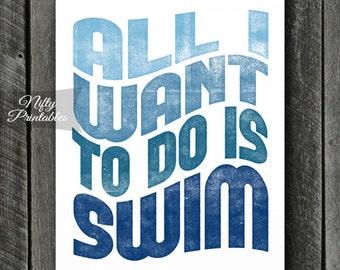 Swimming Print - INSTANT DOWNLOAD Swimming Art - Printable Swim Poster Print - 8x10 Swimming Wall Art - Swimmer Gifts - Sports Print SART