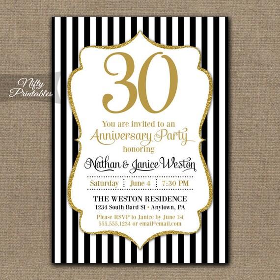 30th Anniversary Invitations Printable Black & Gold