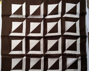 Vintage 1960s Echo Silk Brown and White Geometric Square Modern/Mod Scarf