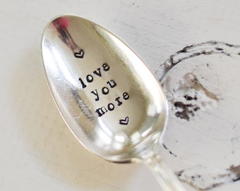 Love you more Spoon - Hand Stamped Spoon - Custom Engraved Spoon - Unique Gift Idea - Birthday Gift - Best Friend Gift - I love you Spoon