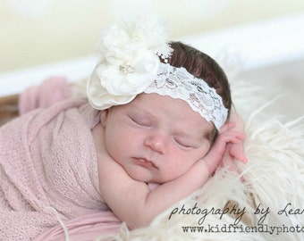 Newborn Headband, Infant Baptism Headband, Girl's Christening Headband, Ivory Silk Flower Headband, Rhinestone Headband, Chic Headband