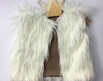 Mongolian white faux fur vest