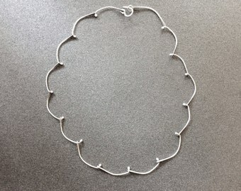 Metalwork Silver Necklace, Handforged Chain Collier, Silver Choker