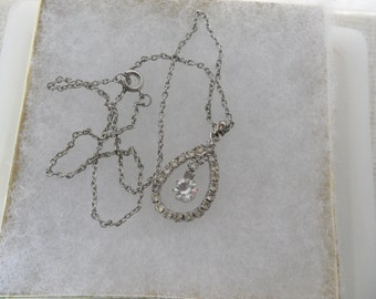 Cheap Chokers Vintage Teardrop Choker Pendant Necklace Rhinestone Tear Drop Necklace Silver Chain Choker Old Jewelry