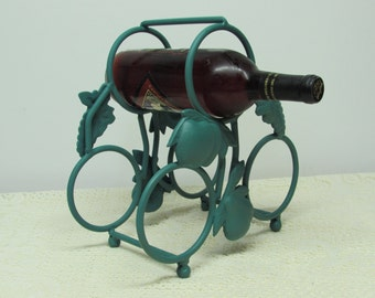 Country Green Metal Wine Rack ~ Farmhouse Kitchen Décor ~ Upcycled Wine Rack ~ Heavy Sturdy Metal Wine Holder ~ Cottage Chic Wine Rack
