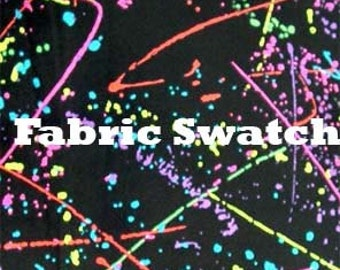 Fabric Swatch - 80's Retro Splatter Print on Black Four way Stretch Velvet Fabric Item# PCLTDSC-SWATCH