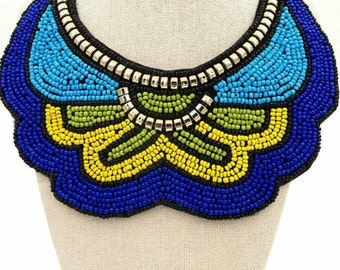 Blue Handmade Beaded Boho Necklace