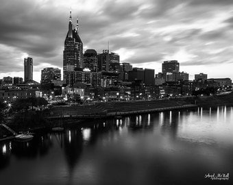 Black and White metal wall art, Nashville Skyline, Downtown Nashville, Large Metal print, Cityscape, ready to hang wall art