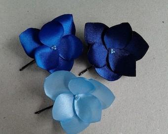 3 Blue Hair Flowers  Blue Hair Pins Royal Blue Bridal Headpiece Blue Bridesmaids Gift Blue Hair Clips Light Blue Hair Clips Navy Blue Pins