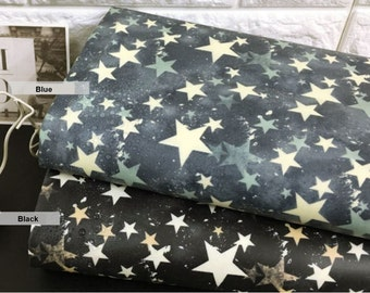 Laminated Cotton Fabric Vintage Star in 2 Colors By The Yard