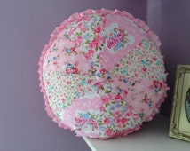 "Round Floral 100% Cotton Shabby Chic Country Bedroom  Pink Girls Princess Cushion 16"" dia can be personalized"