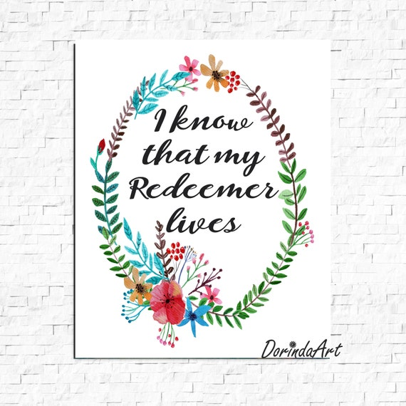 Items similar to Easter print I know that my Redeemer ...