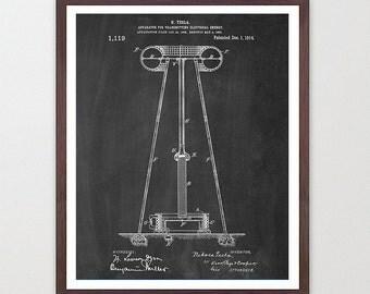 Nicola Tesla - Tesla Poster - Inventions of Nicola Tesla - Tesla Wall Art - Tesla Coil - Tesla Print - Tesla Patent