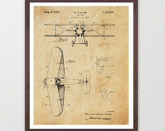 Airplane Patent Art - Staggered Biplane - Airplane Art - Aviation Patent - Aviation Poster - Airplane Poster - Biplane Art - Biplane Patent