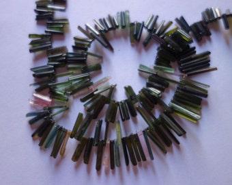 "Fashion Jewelry Necklace17"" Multi Tourmaline Natural Stick Beads 3x7-2x7MM Approx"
