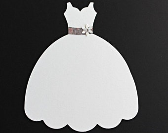 Large Die Cut Dress Form, Ivory wedding Dress Sizzix Fabi Dress Die-cut, Bridal Shower Wedding Invitation die cut dress embellishments