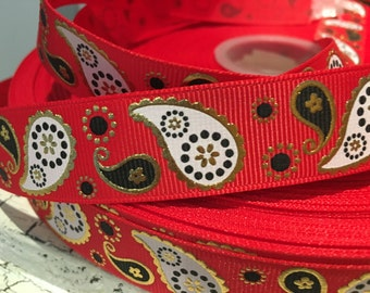 "3 yards 7/8"" Paisley red Black and gold foil ribbon"