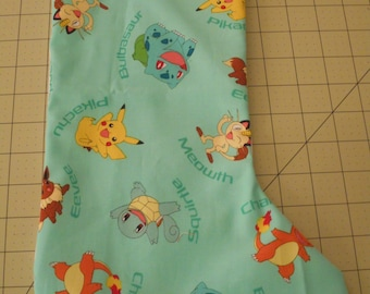 Pokeman Pikachu Print Fabric Christmas Stocking